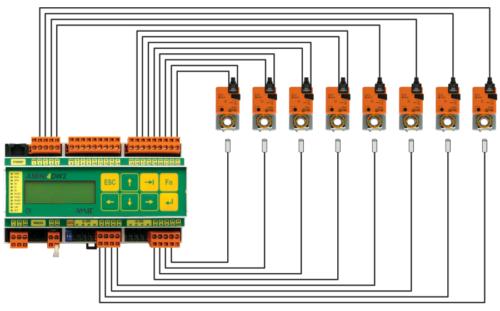 Ukázka standardního zapojení třícestných pohonů